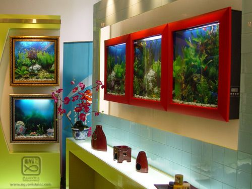 Art fish tanks, changeable backgrounds and frames, and super low maintenance.  yes.