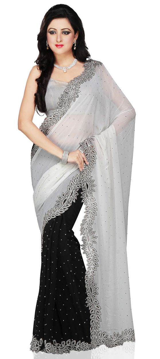 Photo of Georgette Bridal Saree in Black and Grey with Zircon work