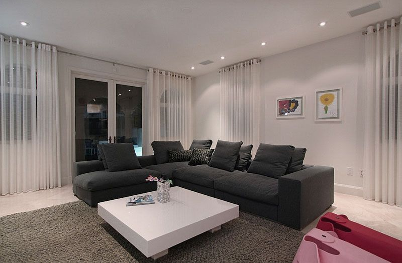 Contemporary Living Room Decorations with Black Velvet L Shaped Sofa