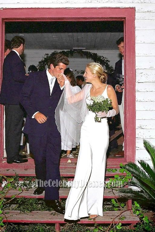 Carolyn bessette kennedy ivory slip cowl neckline evening for Bessette kennedy wedding dress