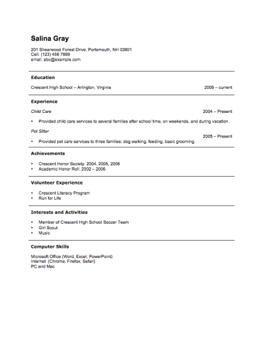 Sample Teen Resume Free Resume Templatehloom  High School Resume No Exp