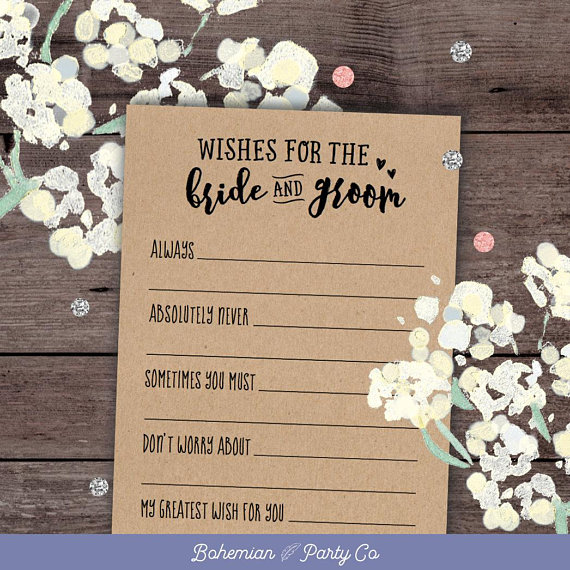 Professionally Printed Unique Bridal Shower Activity Game or Wedding Guest Book Alternative Set of 125 Wishes for the Happy Couple Cards