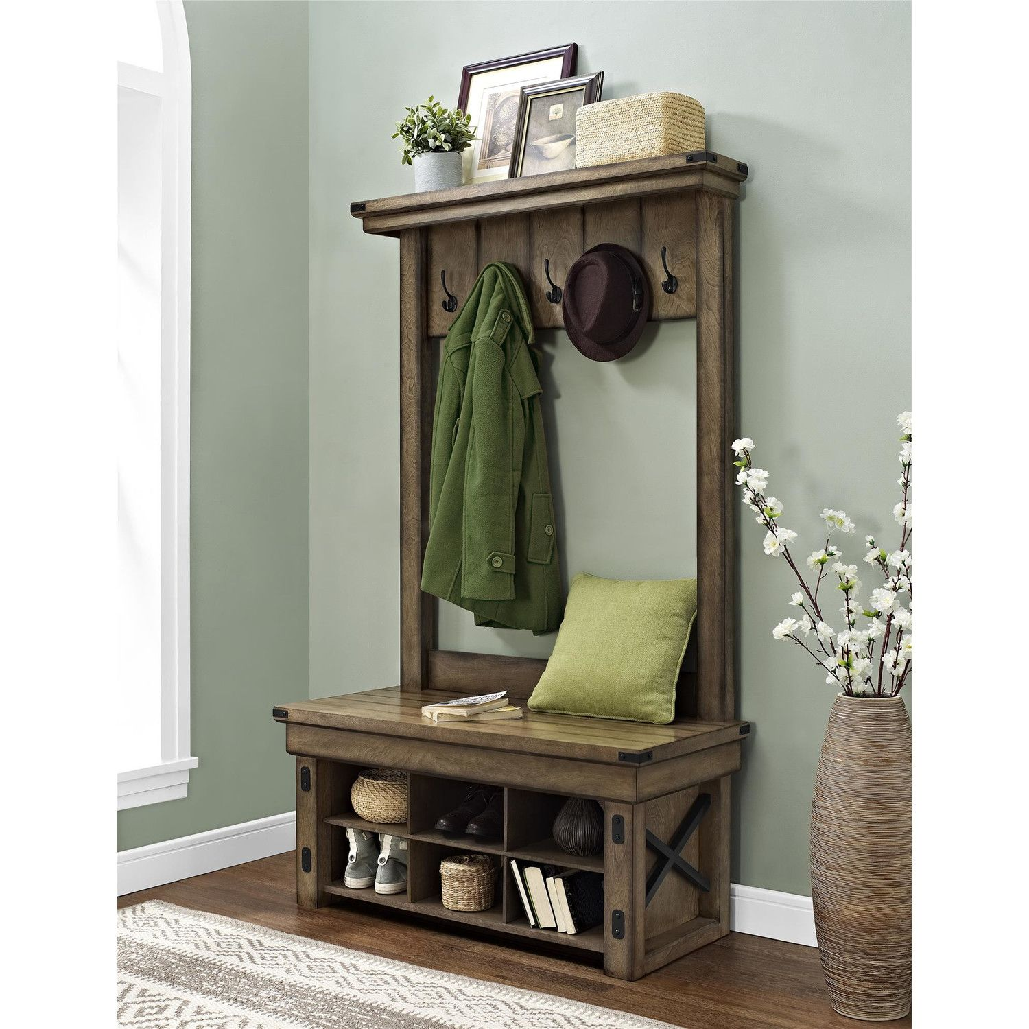 charming cabin coat rack. This hall tree is beautiful and just the right size for my entry  100 Inspiring Mudrooms Entryways Hall Entryway