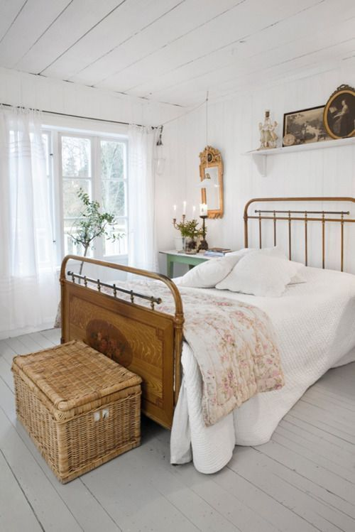 Sweet French Country Styled Bedroom With Gray Painted Wide Plank
