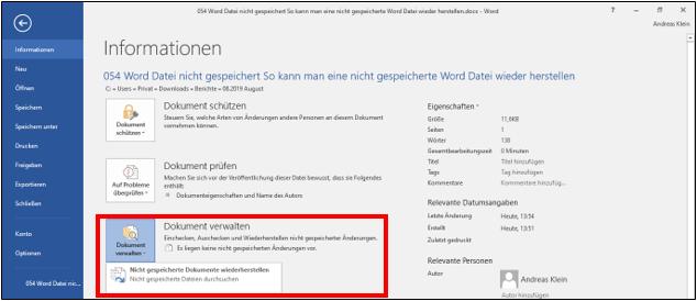 Word Datei Nicht Gespeichert So Kann Man Nicht Gespeicherte Word Dokumente Wiederherstellen Microsoft Word Ordner