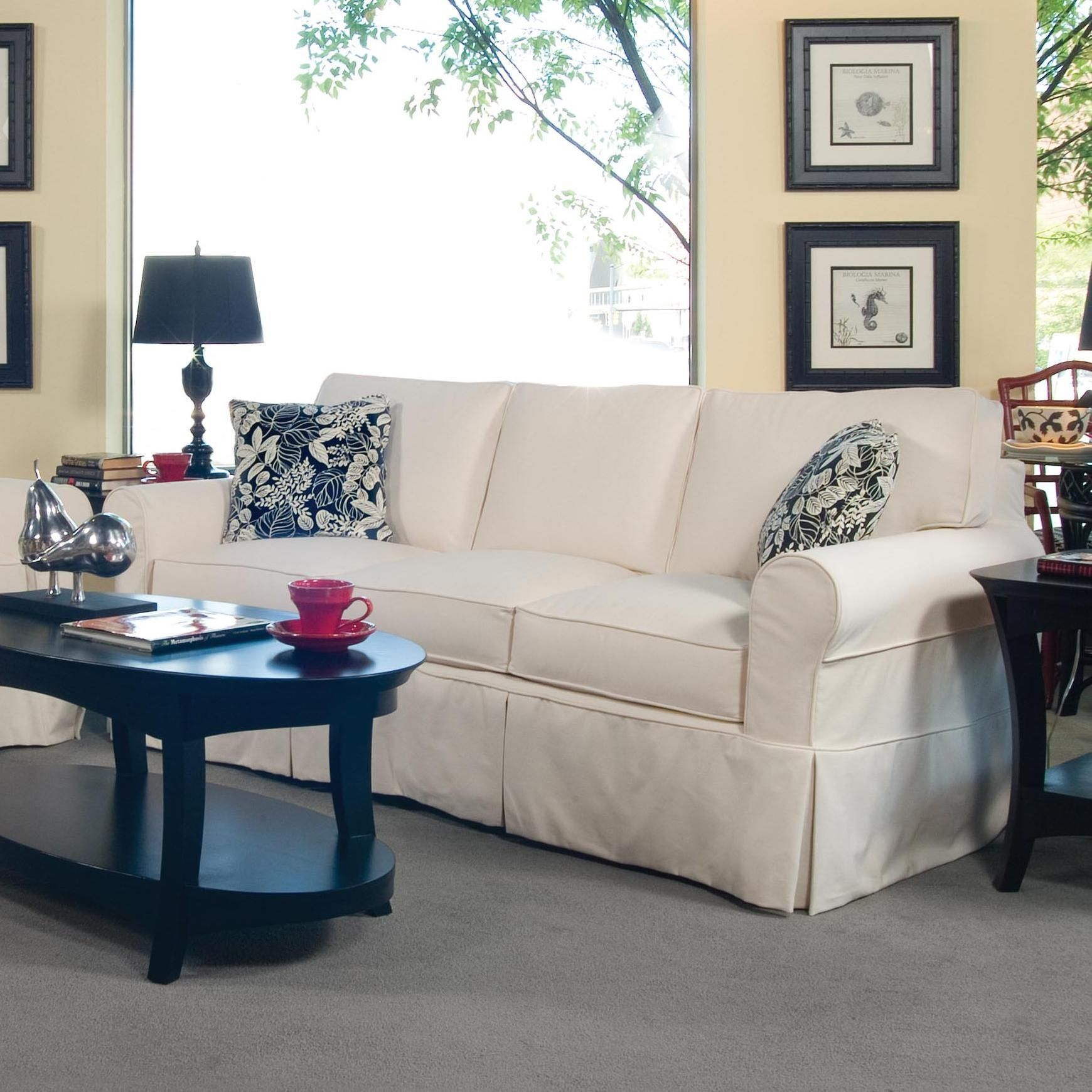 Bedford Casual Three Seater Sofa with Rolled Arms and Slipcover by