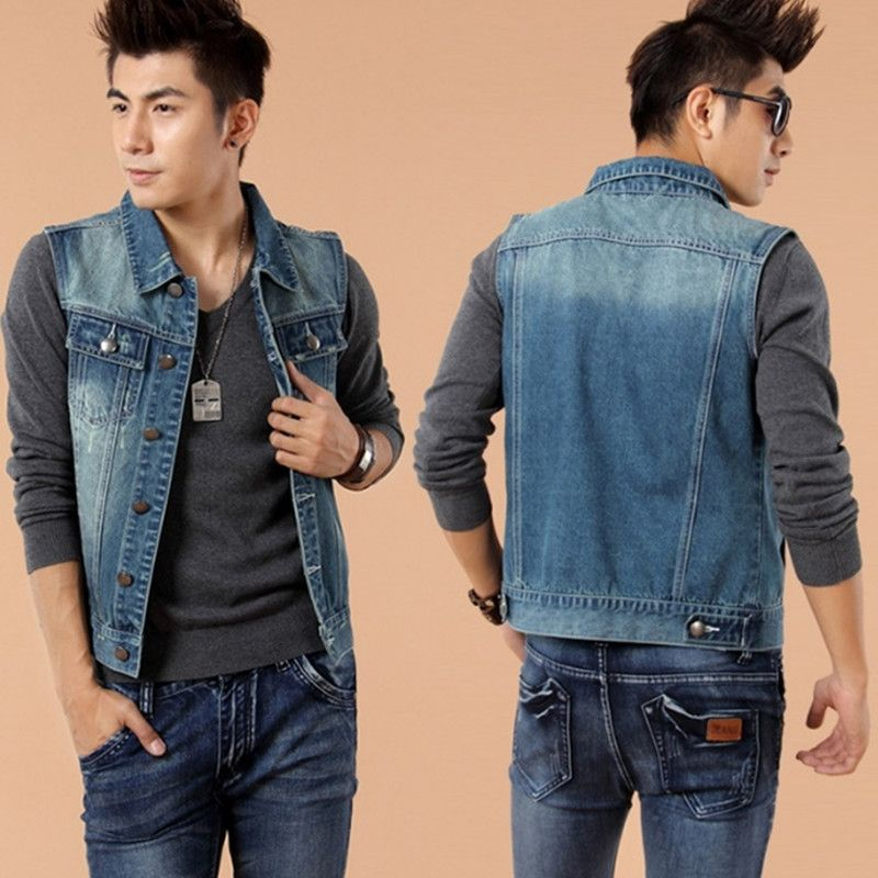 b16bdcb530b Men s Spring Autumn Slim Blue Denim Jackets Classics Washed Sleeveless Jeans  Trucker Jacket Male Plus Size
