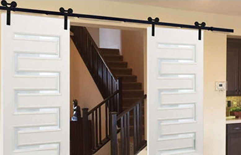 Double Ram S Horn 10ft Sliding Barn Door Hardware Barn Door Hardware Interior Barn Doors Barn Door