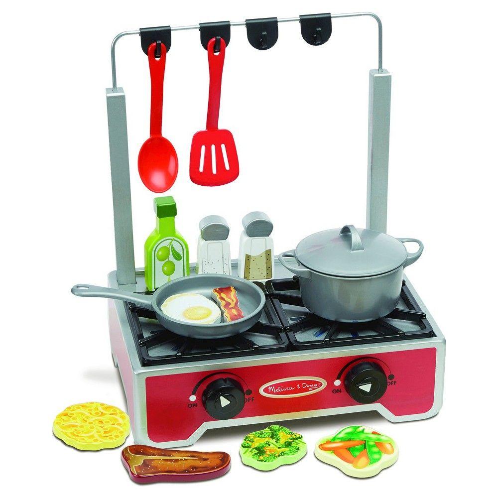 Melissa doug 17piece deluxe wooden cooktop set with