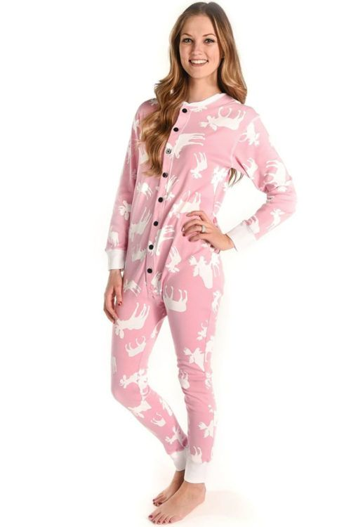 03a875dc56 Pink Classic Moose Flapjack Onesie Front Women