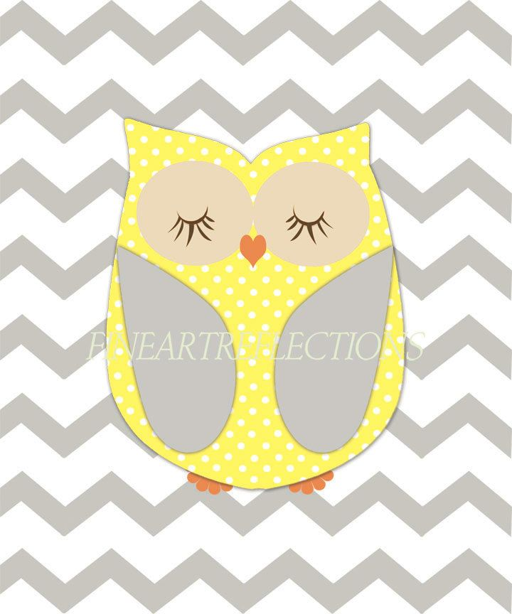 Nursery Art Print, Art For Children, Gray, Yellow, Chevron Wall Art ...