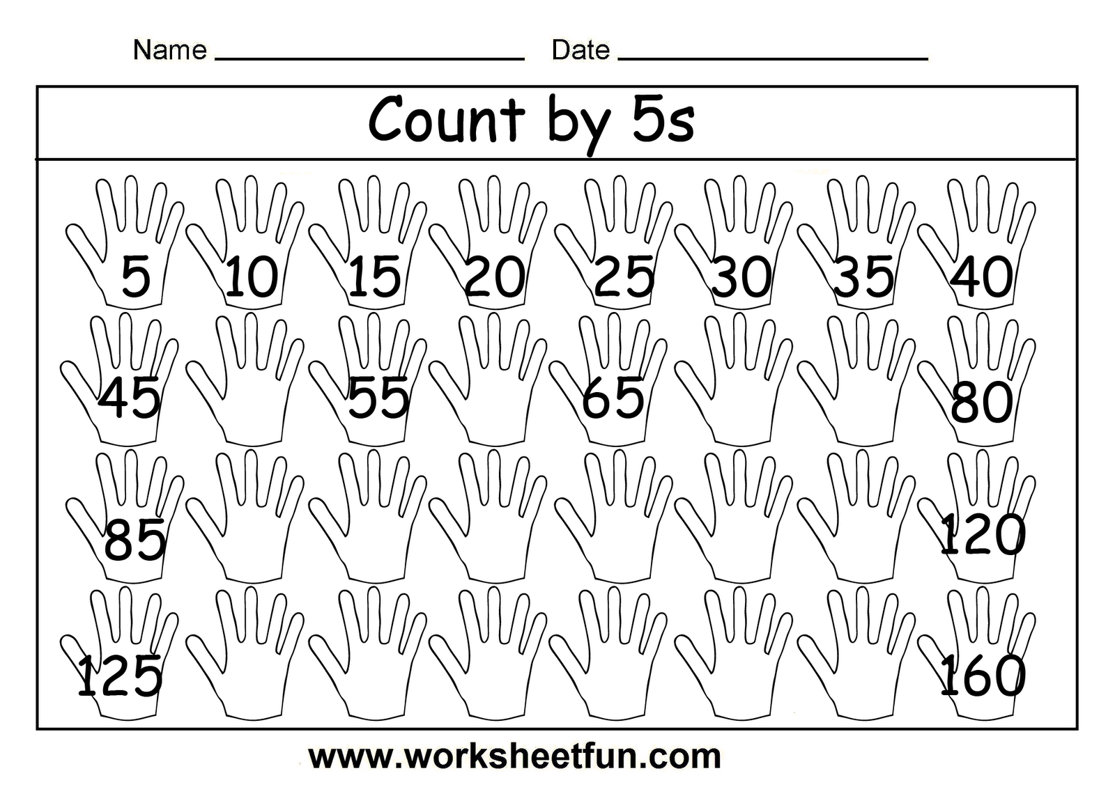 Free Printable Math Worksheets Count By 5s
