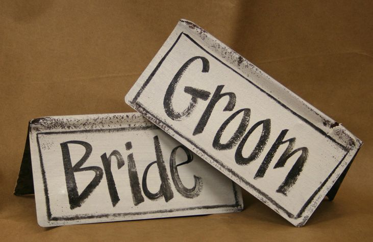 Bride groom table markers two kisses weddings inspiration bride groom table markers sciox Images