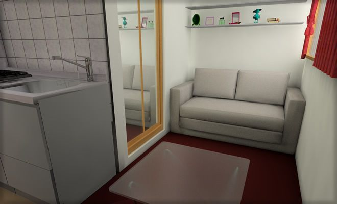 Japanese small room (10m2 !!) Studio living, Small