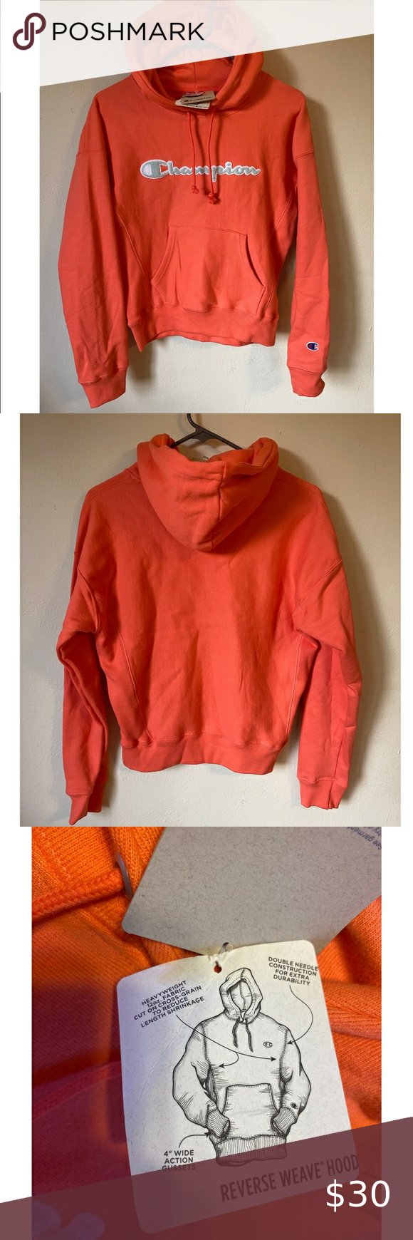 Nwt Women S Champion Hoodie Nwt Women S Hoodie In A Bright Coral Salmon Color Unique Reverse Weave Hood Detail On Sides Champion Hoodie Hoodies Champion Tops [ 1740 x 580 Pixel ]