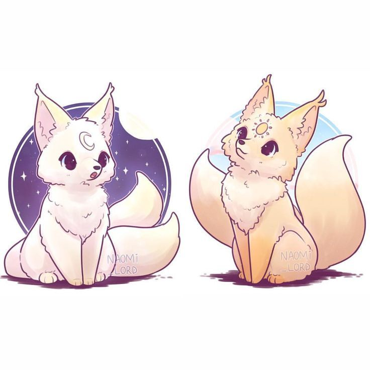 The Sun and the Moon #kawaii #foxes #koreanfolks (2-tailed kumihos) - #2tailed #foxes #kawaii #koreanfolks #kumihos #Moon #Sun #sun