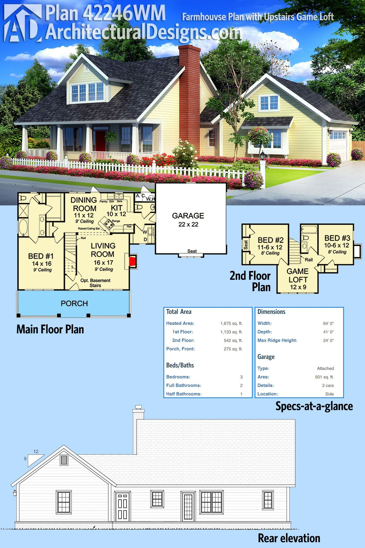 Plan 42246WM: Farmhouse Plan With Upstairs Game Loft