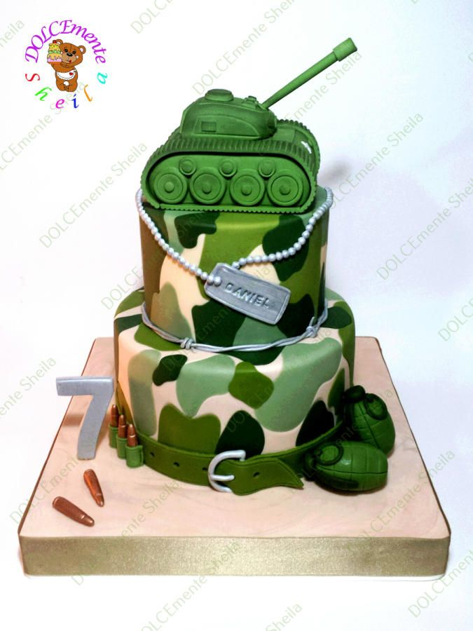 Military cake by sheila laura gallo cakes cake for Army cake decoration