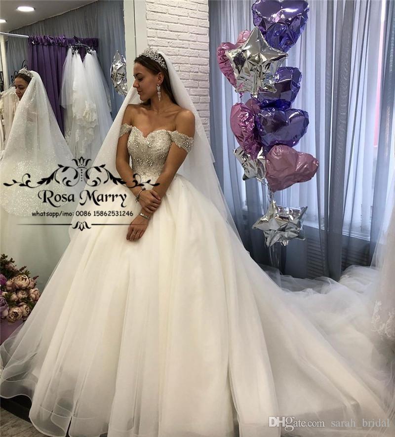Sparkling Crystal Ball Gown Wedding Dress Elegant Arabic Long Tulle Bridal Gowns
