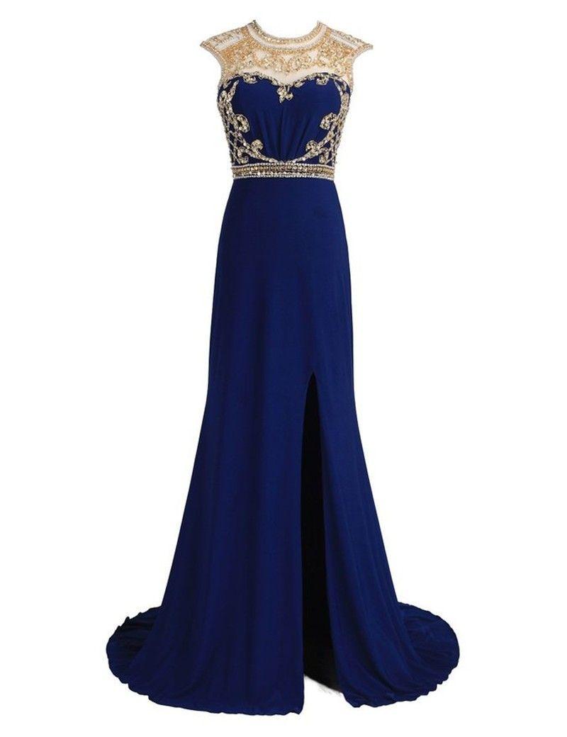 New arrivals royal blue chiffon long prom dresses prom dresses