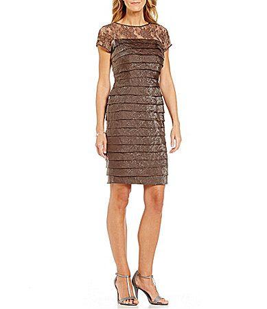 London Times Illusion Lace Layered Shimmer Dress #Dillards