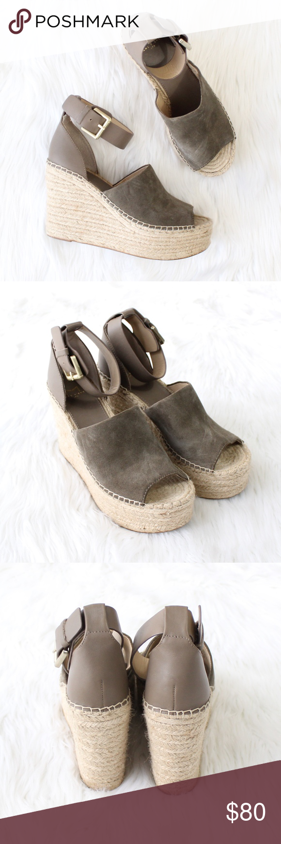 2d86a255133 MARC FISHER Adalyn Espadrille Wedge Sandal in Grey Gently used condition!  Size  7 Color