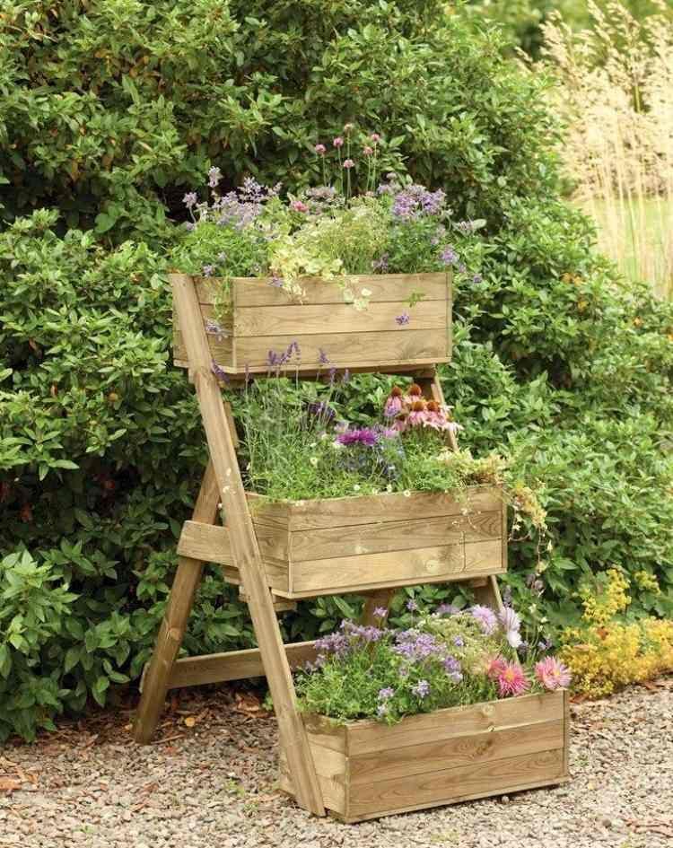 Bac fleurs en bois faire soi m me plus de 52 id es diy jardin urbain pinterest for Bac potager en bois