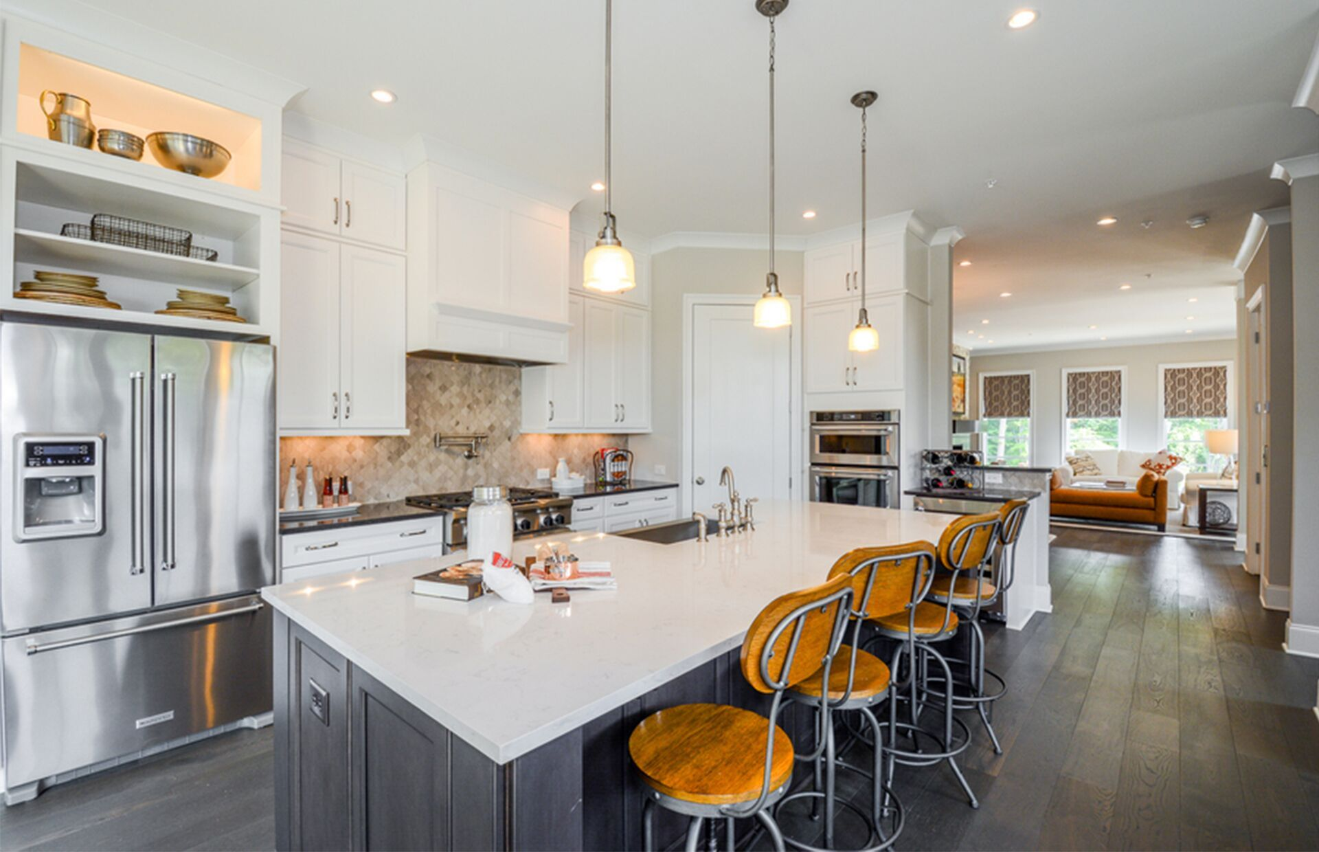 White Cabinets Different Island Cabinets I Like The Bar Stools Too Dream Kitchen Pulte Homes Industrial Interiors