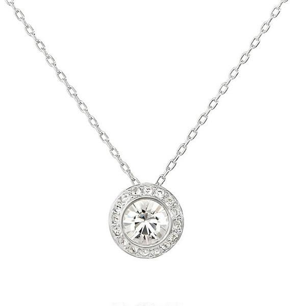Triostar 925 Sterling Silver Simulated Diamond Studded Solitaire Pendant Necklace Jewelry
