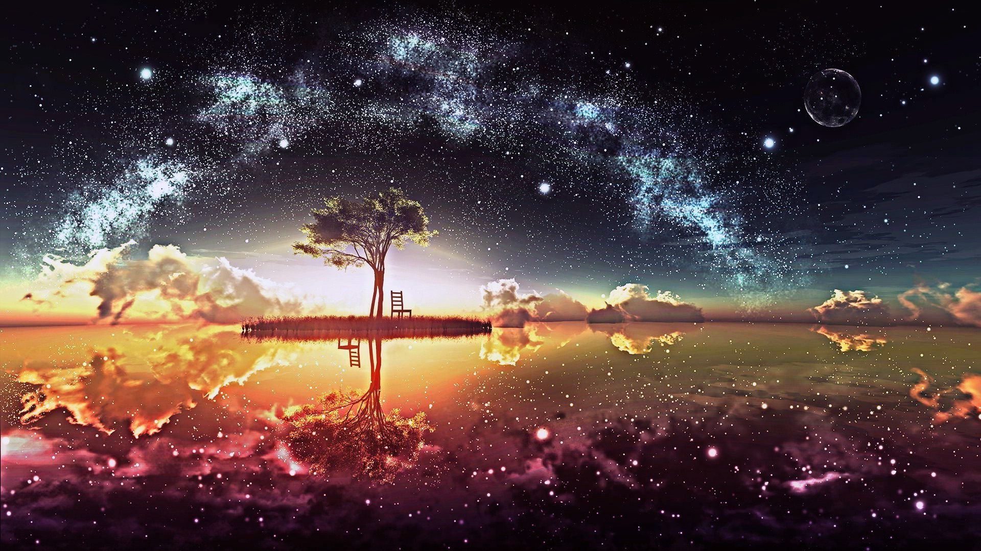 Amazing Paradise Beautiful Night Scenery Wallpaper Landscape Wallpaper Anime Scenery Wallpaper