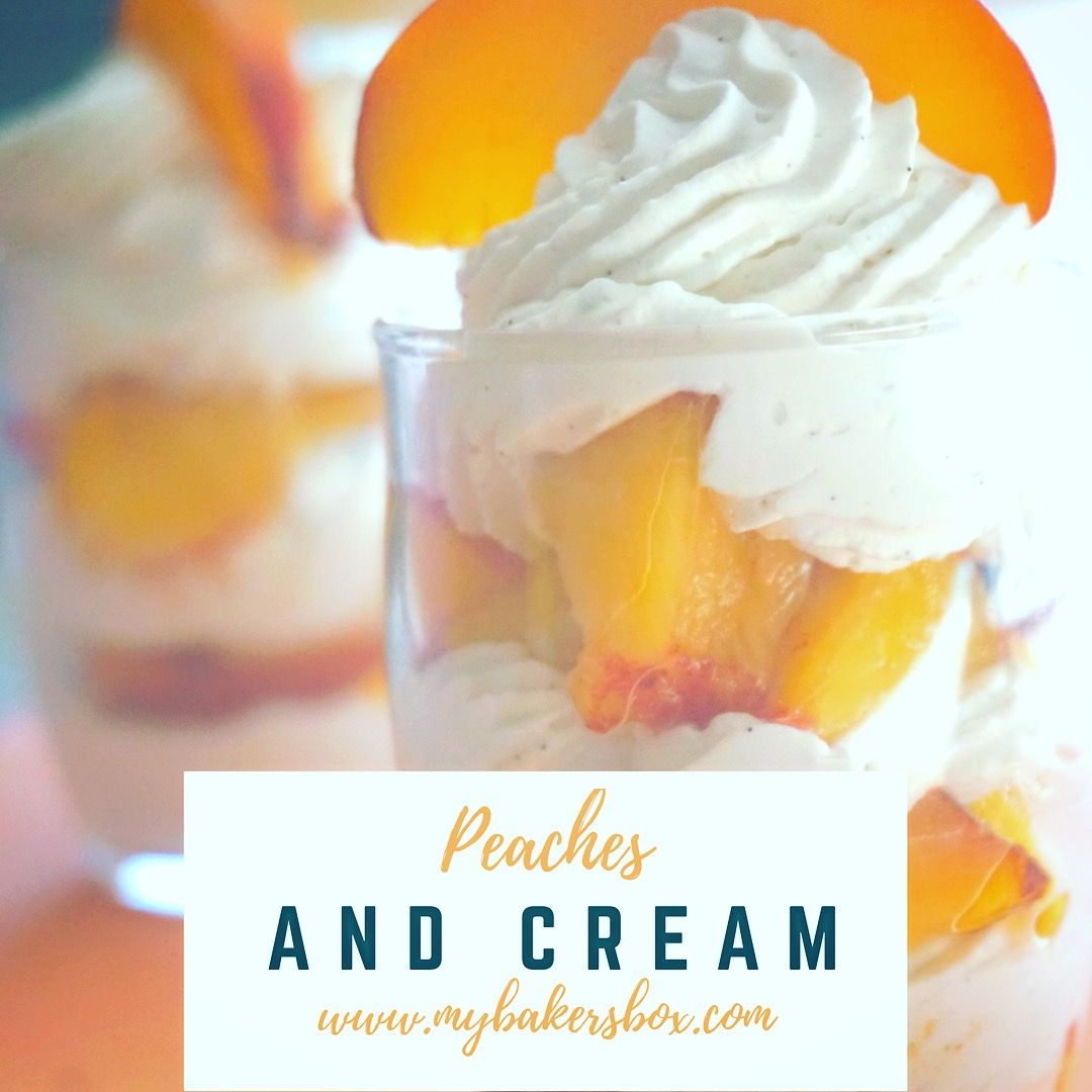 Thinking about trying our Vanilla Bean Whipped Cream?  Put in a piping bag and layer with #peaches for a delicious treat!!! #madewithmybakersbox #taylorandcolledge #vanillabean #lovevanilla #peachesandcream #baking #summer #bake #gift #subscriptionbox #bakingsubscriptionbox #bakingsubscription #bakingclub