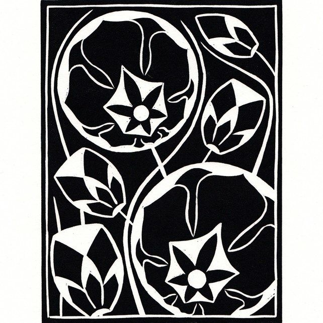 Black and white flower lino print 900 woodblock linocuts and black and white flower lino print mightylinksfo Image collections