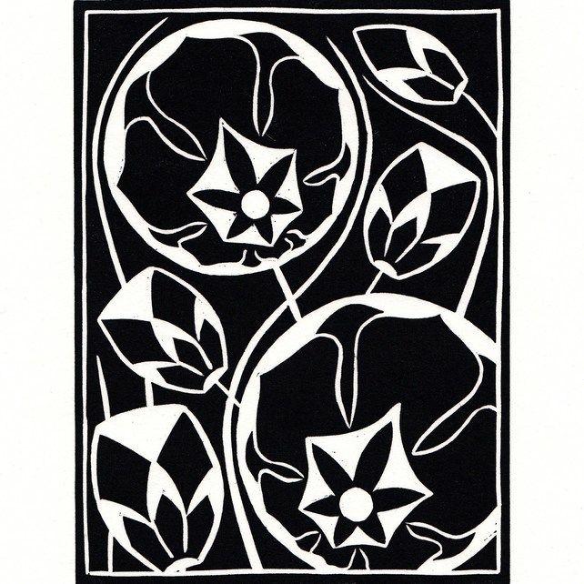 Black And White Flower Lino Print GBP900
