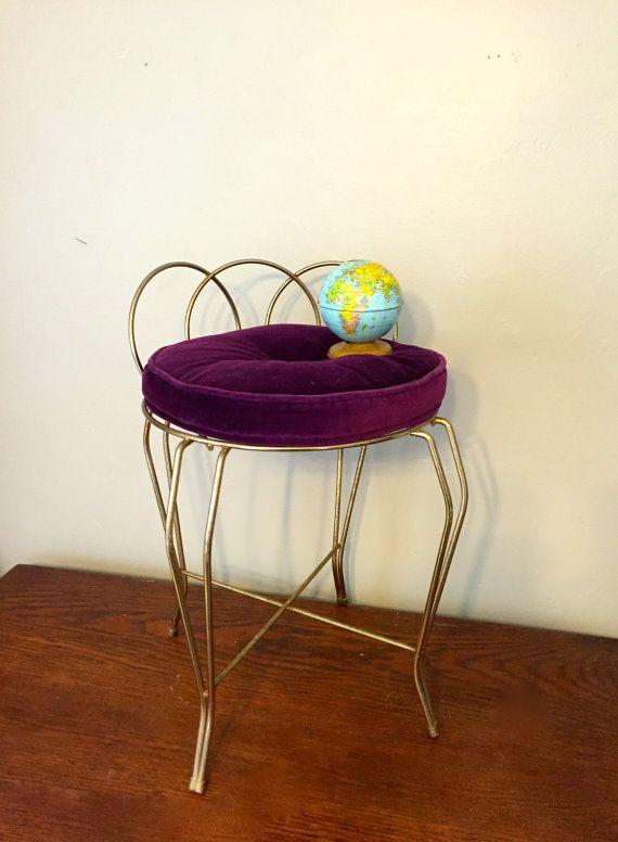 Vintage Hollywood Regency Style Gold Metal Vanity Stool With a ...