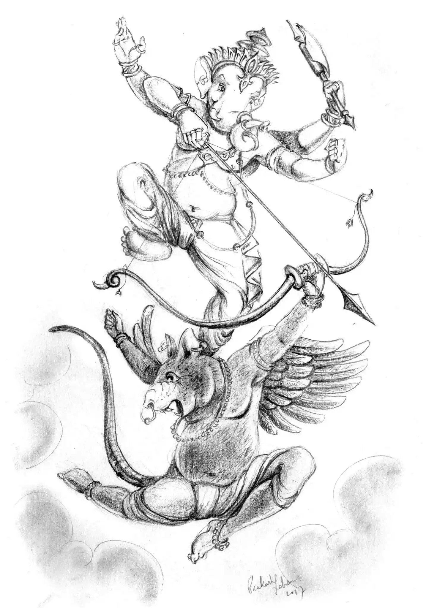Pin by RAJ GAMBHIR on Ganesh art | Sketches, Ganesh art ...