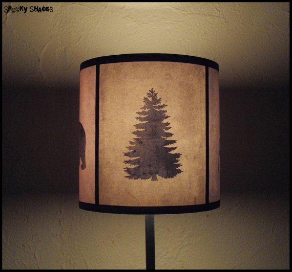 Pine Tree Art Lamp Shade Lampshade Woods Shadows Holiday