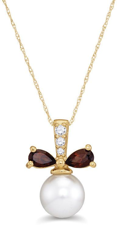 Zales 8.0mm Citrine and Diamond Accent Pendant in 10K Gold krInE