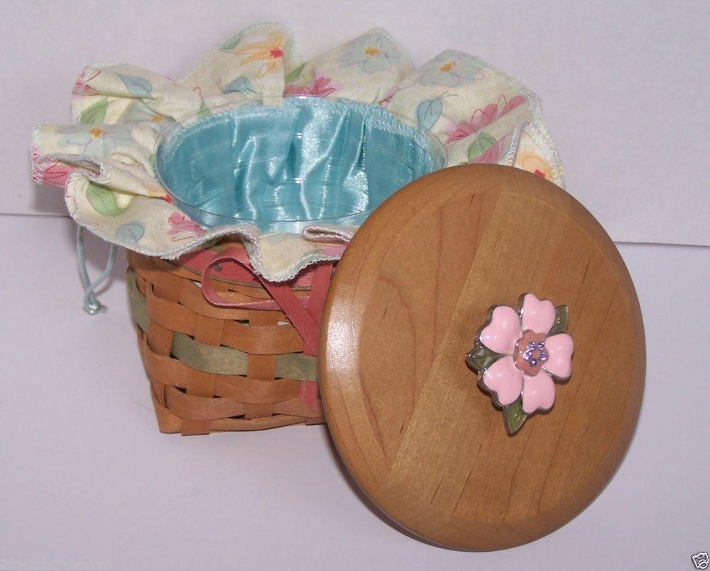 Mother's Day Basket Longaberger 2009 Floral Bloom Liner Protector Woodcrafts Lid