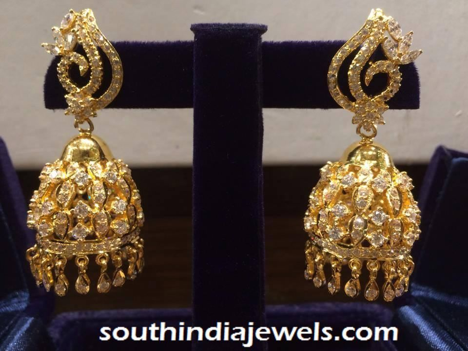 22K gold white stone jhumka | Jhumkas Collections ...  Davanam