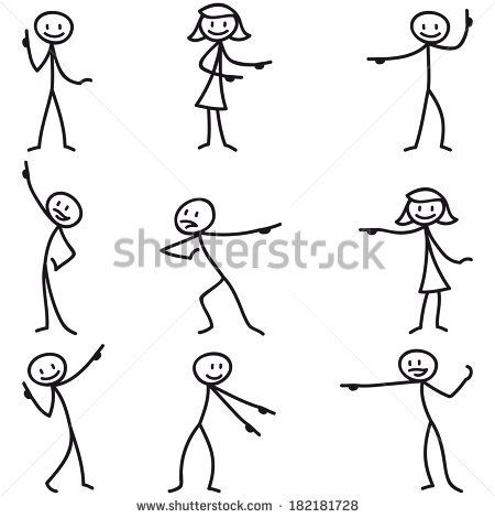 Set Of Stick Figures Stickman Pointing And Showing Directions Stock Photo Stick Figure Drawing Stick Drawings Stick Figures
