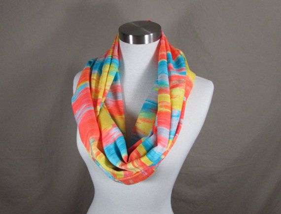 Infinity Scarf in Blue Yellow and Orange Print Handmade Lightweight Scarf Spring Scarf Summer Scarves
