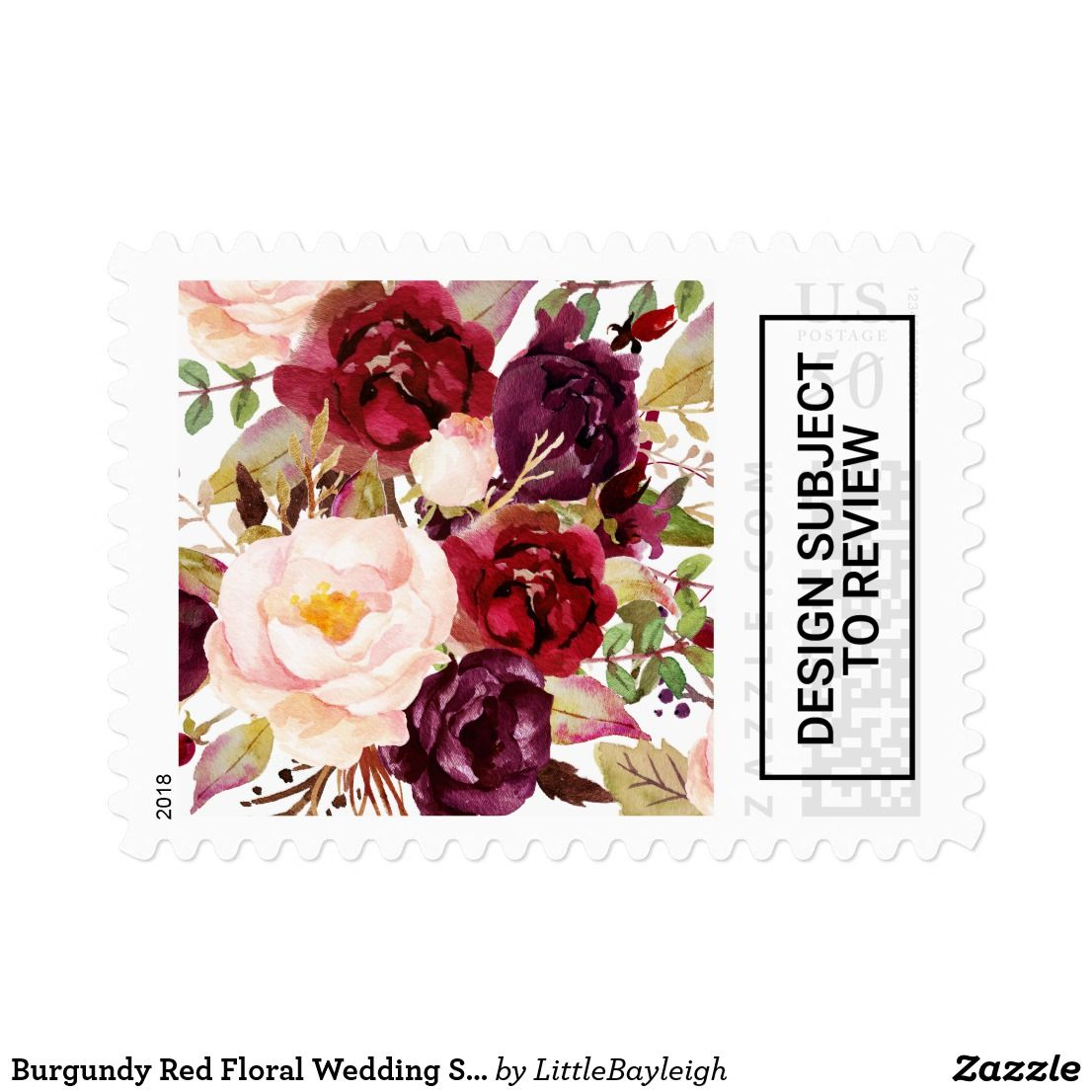 Burgundy Red Floral Wedding Stamp