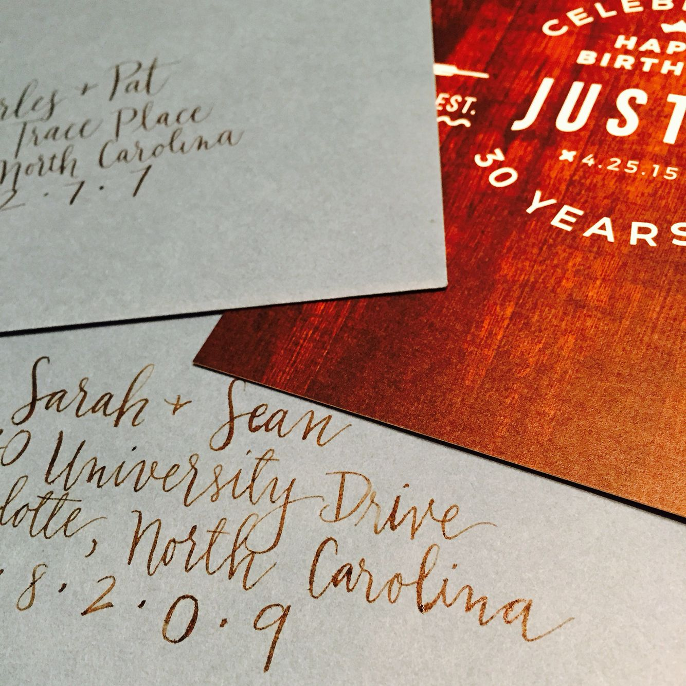 Invitation for a birthday and hand lettered addresses in Walker ...