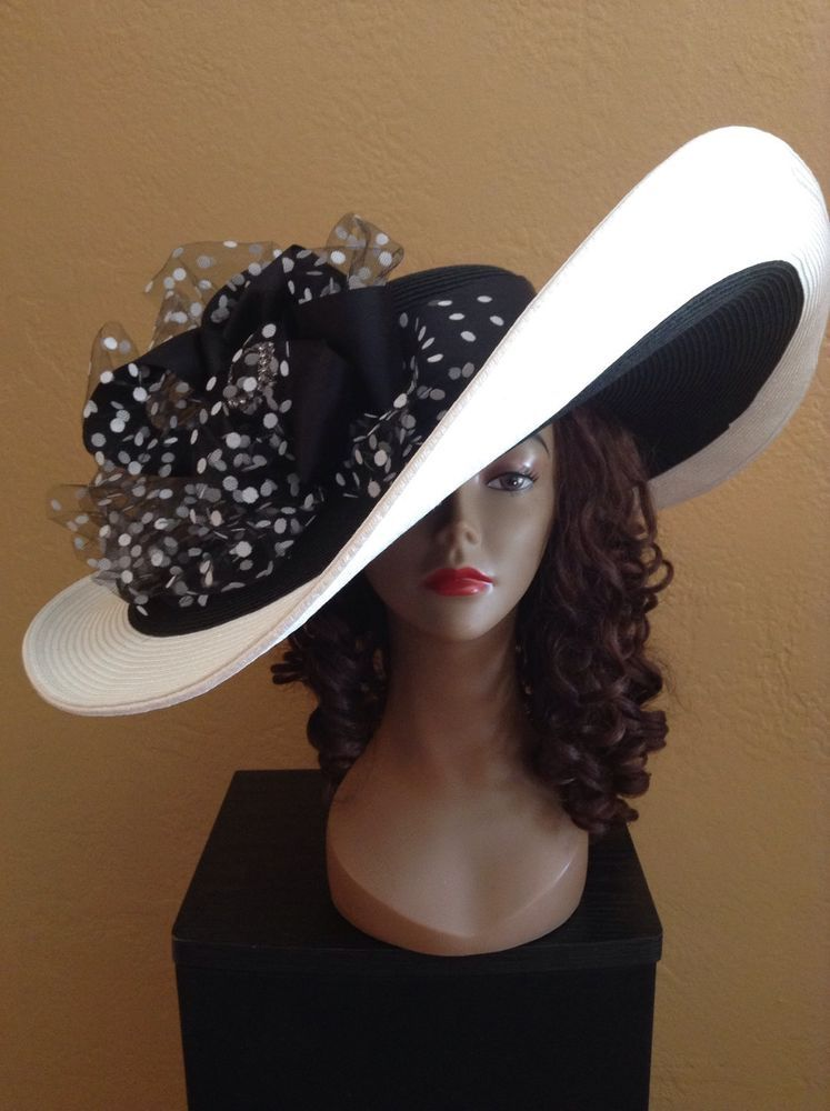 413c14d616ce59 Kentucky Derby Wide Brim Wedding Church Extra Large Black And White  Polkadot Hat in Clothing, Shoes & Accessories | eBay