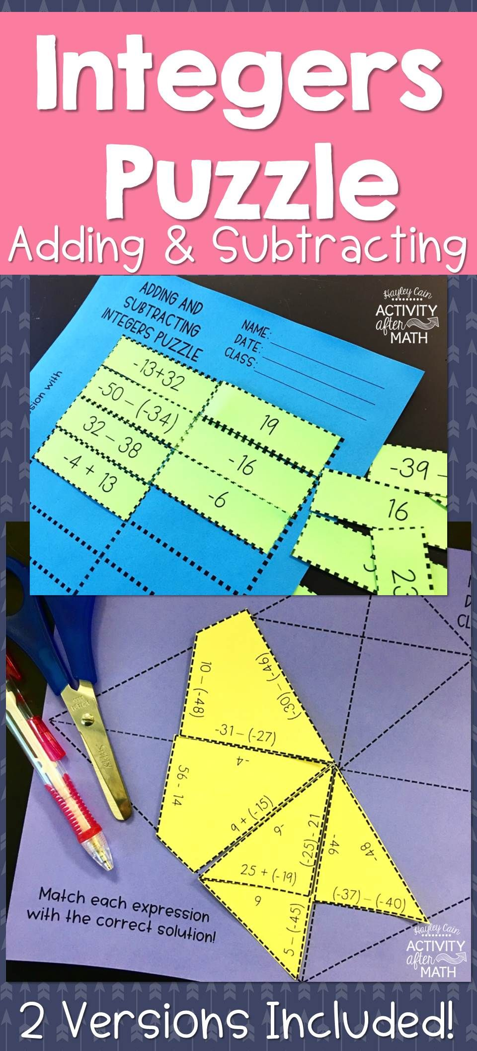 Adding and Subtracting Integers Puzzle Integers Adding