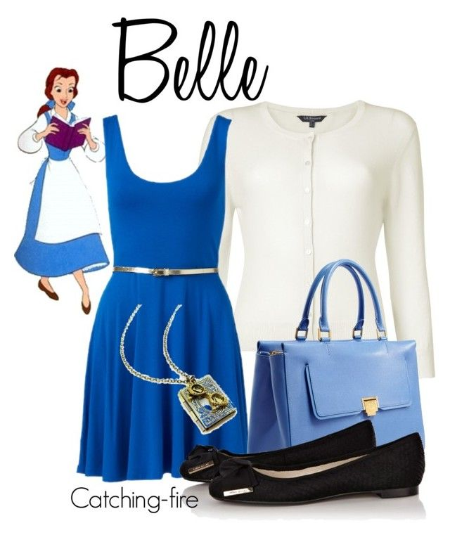 """Belle"" by catching-fire ❤ liked on Polyvore featuring mode, Disney, L.K.Bennett, Forever New, Smythson et Karen Millen"