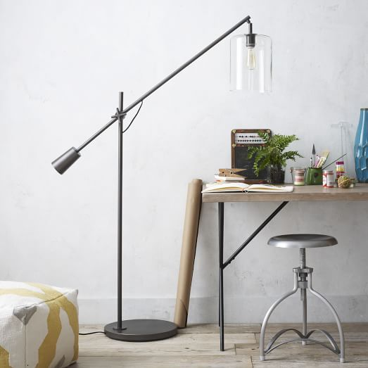 Adjustable Glass Floor Lamp West Elm For Use With Chaise Lounge