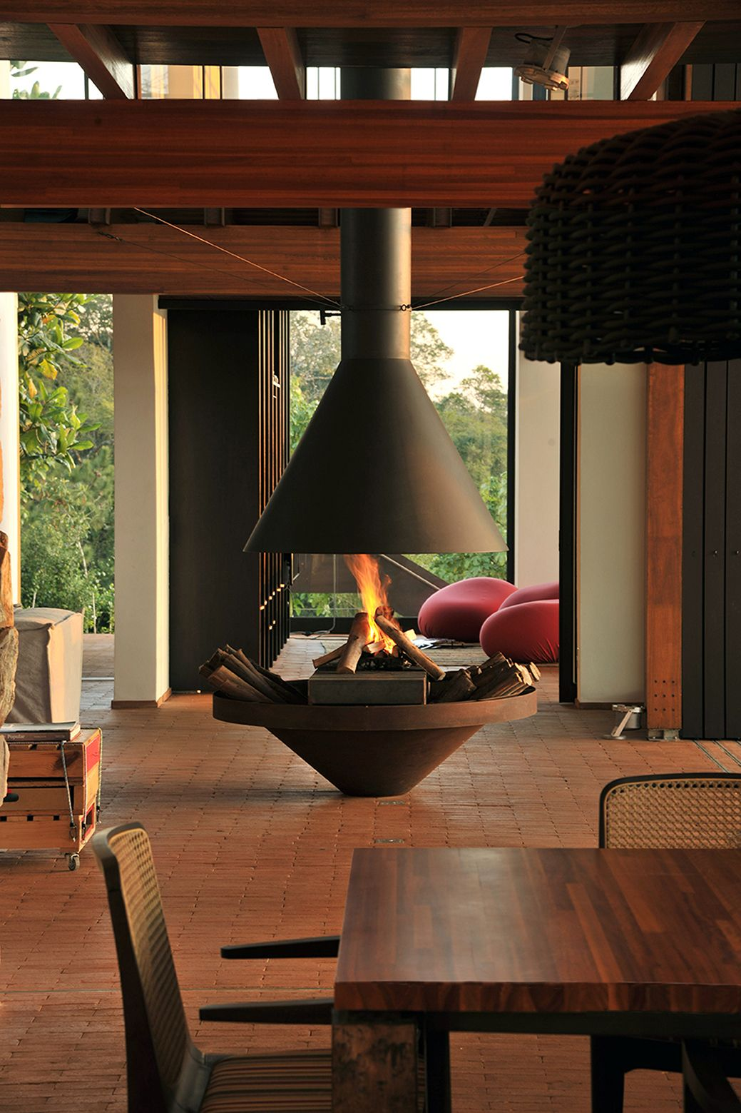 House In Quinta Da Baroneza Candida Tabet Arquitetura Freestanding Fireplace Home Fireplace Interior Architecture Design