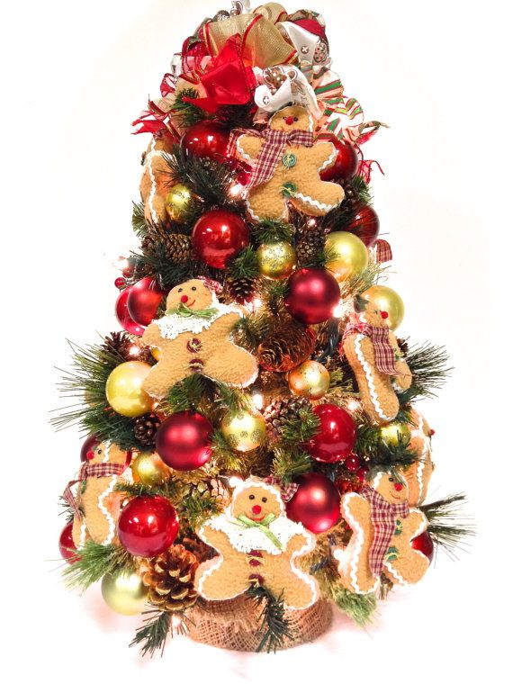 SOLD! 2 Foot Gingerbread Lighted Table Top Christmas Tree 24\