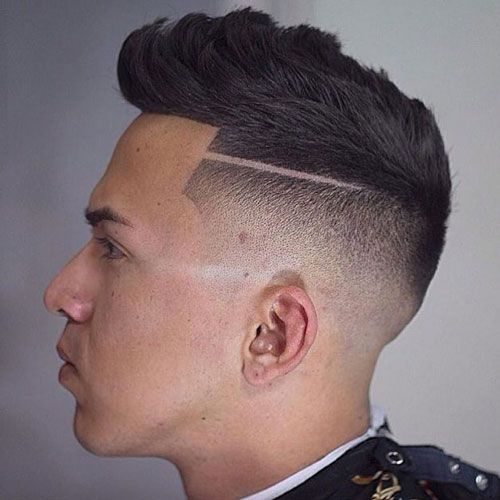 Temp Fade With Part And Textured Top Faux Hawk Hairstyles Mens Haircuts Fade Haircuts For Men